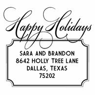 Happy Holidays Personalized Address Stamper