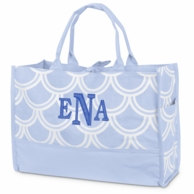 Harbor Bae Baby Blue Monogrammed Open Tote