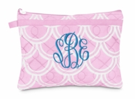 Harbor Bae Baby Pink Monogrammed Zipper Pouch