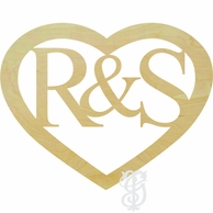 Heart Border Wood Wall Monogram