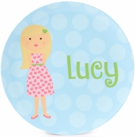 Heart Dress Girl Personalized Kids Plate / Bowl