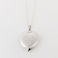 Heart Monogrammed Silver Locket Necklace