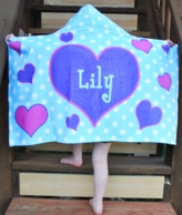 Hearts Personalized Hooded Towel