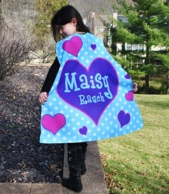 Hearts Personalized Kids Super Hero Cape