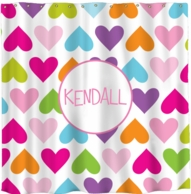 Hearts Personalized Shower Curtain - DESIGN YOUR OWN!