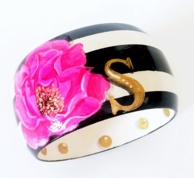 Here Comes The BLOOM Monogram Hand Painted Wood Bangle