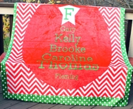 Holiday Chevron Personalized Family Names Fleece Blanket