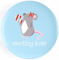 Holiday Mouse Girl Personalized Kids Plate