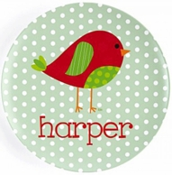 Holiday Patchwork Birdie Personalized Kids Plate