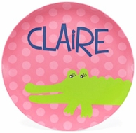 Hot Pink Funky Gator Personalized Plate
