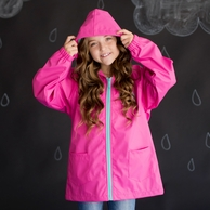Hot Pink Girls Monogrammed Rain Coat