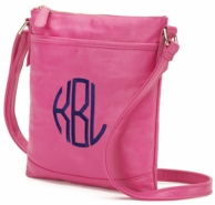 Hot Pink Monogrammed Cross Body Handbag Purse
