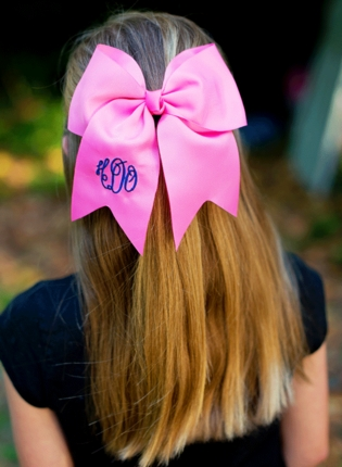 Hot Pink Monogrammed Hair Bow