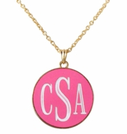 Hot Pink Monogrammed Josie Engraved Necklace