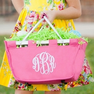 Hot Pink Monogrammed Mini Market Tote