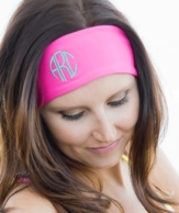 Hot Pink Monogrammed Stretch Headband