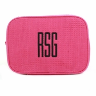 Hot Pink Monogrammed Waffle Weave Cosmetic Bag
