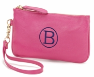Hot Pink Monogrammed Wristlet Clutch Purse