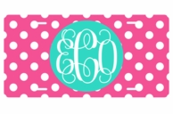 Hot Pink Polkadot Monogrammed Car Tag