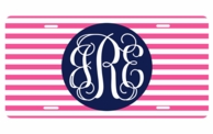 Hot Pink Stripe Monogrammed Car Tag