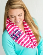 Hot Pink Stripe Monogrammed Infinity Scarf