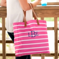 Hot Pink Stripe Monogrammed Tote Bag