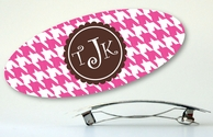 Houndstooth Monogrammed Hair Barrette - CHOOSE YOUR COLORS