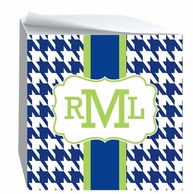Houndstooth Monogrammed Sticky Note Cube - CHOOSE YOUR COLORS!
