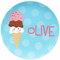 Ice Cream Triple Scoop Personalized Plate