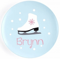 """Ice Skate Girl Personalized 10"""" Kids Plate"""