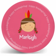 Indian Girl Thanksgiving Personalized Kids Plate