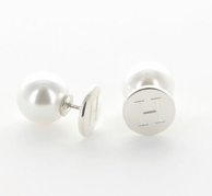 Initial 360 Degree Pearl Stud Earrings