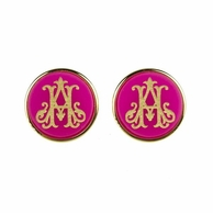 Interlocking 2 Initial Monogram Post Earrings - ML xx EM