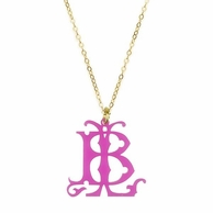 Interlocking Acrylic 2 Initial Monogram Necklace - ML xx EM