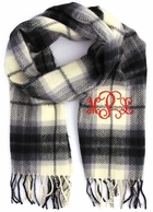 Ivory Plaid Cashmere Soft Monogrammed Scarf
