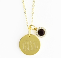 July Birthstone Goldtone Monogram Necklace - RUBY