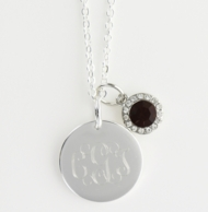 July Birthstone Silver Monogram Necklace - RUBY