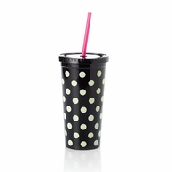 Kate Spade Le Pavillion Black Dots Insulated Tumbler with Straw