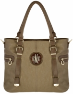 Khaki Monogrammed Elizabeth Vegan Leather Handbag