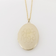 Large Oval Gold Monogrammed Locket Necklace