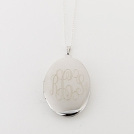 Large Oval Silver Monogrammed Locket Necklace