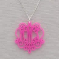 Laura Chandelier Acrylic Monogram Necklace