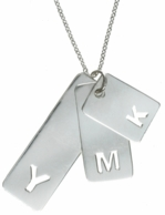 Layered Initial Sterling Silver Dog Tag Charm Necklace