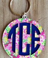 Layered Monogram Key Chain - Choose Your Mary Beth Goodwin Print!
