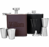 Leather Wrapped Personalized Flask Set