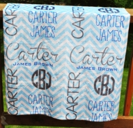 Light Blue Chevron Personalized Minky Baby Blanket