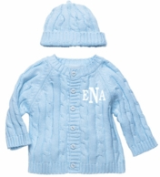 Light Blue Monogrammed Cable Knit Baby Sweater and Hat Set