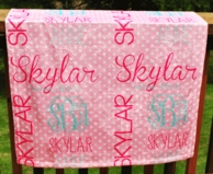 Light Pink Polka Personalized Minky Baby Blanket
