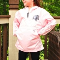 Light Pink Youth Monogrammed Pullover Rain Coat