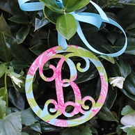 Lilly Pulitzer Acrylic Cut Monogram Ornament